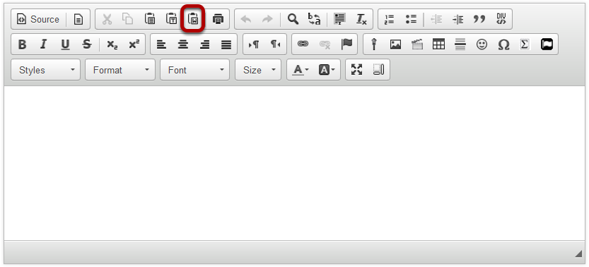 In the Rich Text Editor, click the Paste From Word icon.