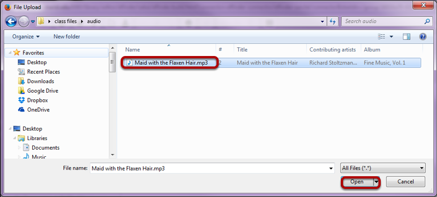 Select the mp3 audio file you want to embed in the text box.
