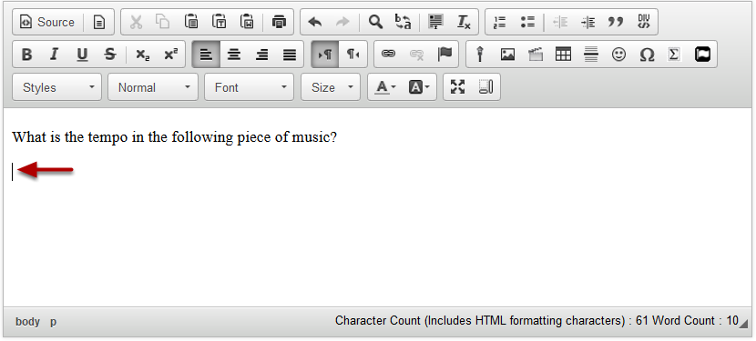 In the text box, position your cursor where you want to embed the mp3 audio file.