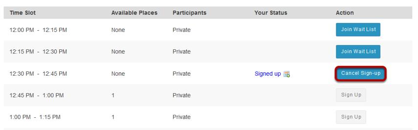 Cancel Sign-up. (Optional)