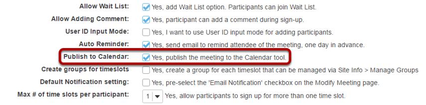 Check Publish to Calendar.