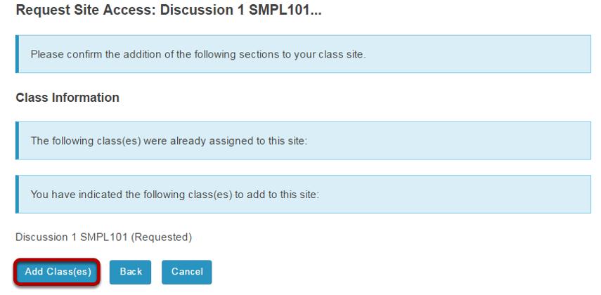 Click Add Class(es).