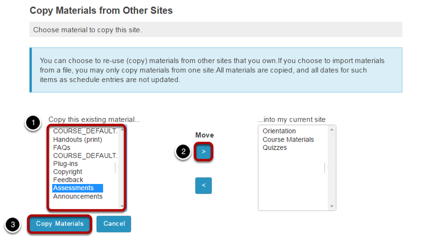 Select the content to be imported.