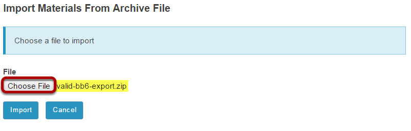 Choose a file to import.