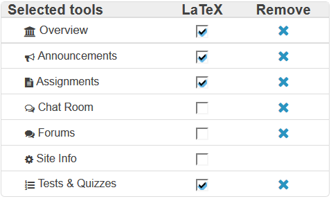 Check LaTex box next to tool names to enable.