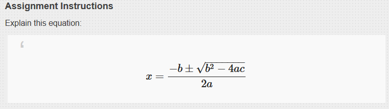 Equation displays as expected in student view.