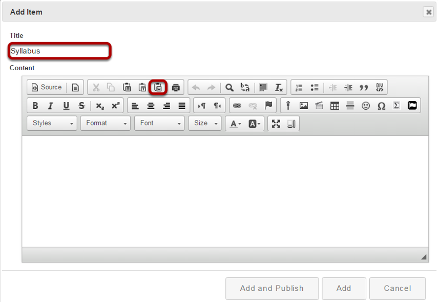 Enter your syllabus title and paste text.