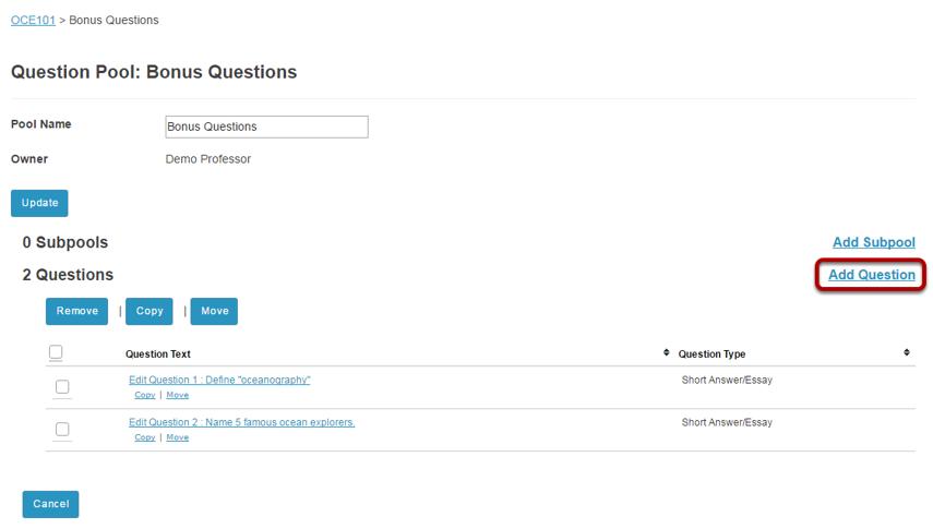 Click Add Question.