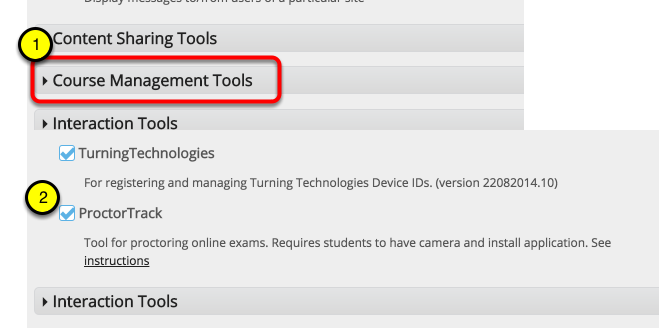 """Click """"Course Management"""" to expand section"""