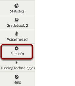 "Click ""Site Info"" in the left margin"