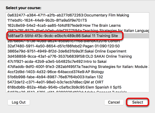 Select the desired course