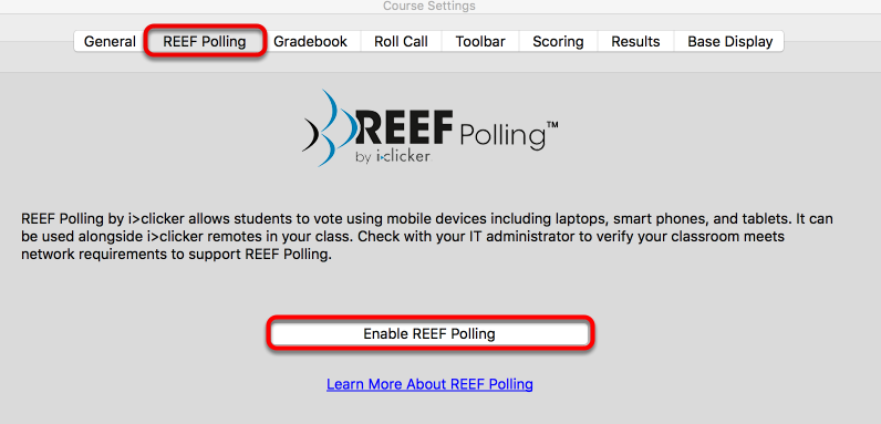 REEF Polling tab