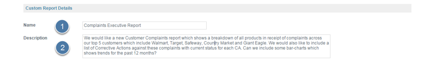 Enter Custom Report Details