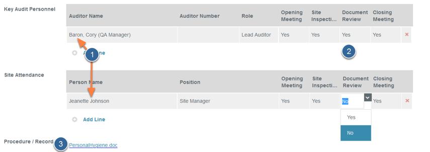Define Audit Team Members and Site Audit Attendance