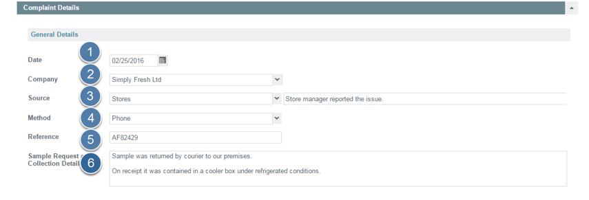 Enter Customer & General Details of Complaint