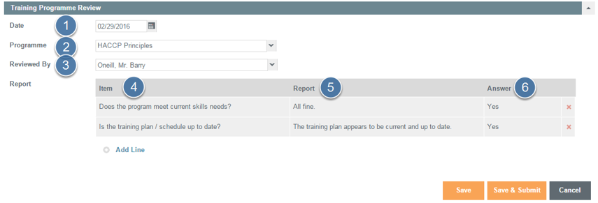 Enter Training Program Review Details