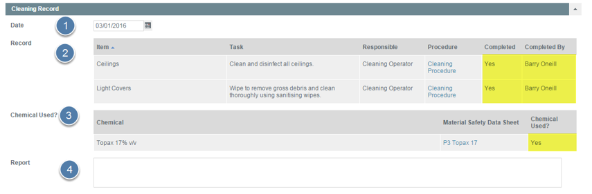 Enter Cleaning Record Details