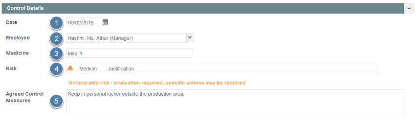 Enter Personal Medication Control Details
