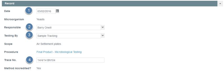 Enter Monitoring Test Record Details