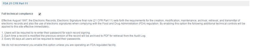 Manage FDA 21 CFR Part 11 Compliance