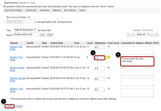 Enter score adjustment and comments.