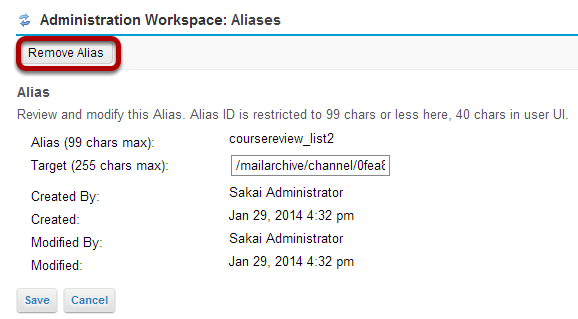 Click Remove Alias.