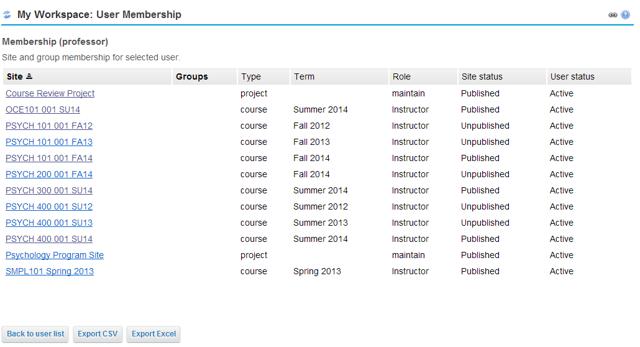 View the selected user's membership.