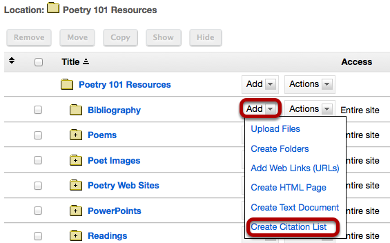 Method 2: Manually create list.