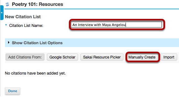 Enter a name for the citation list, then click Manually Create.