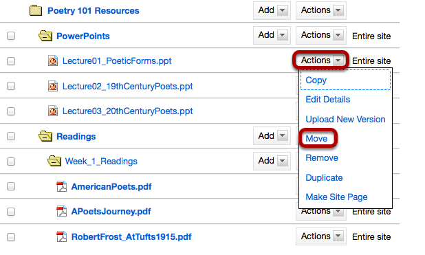 Method 2: Click Actions, then Move.