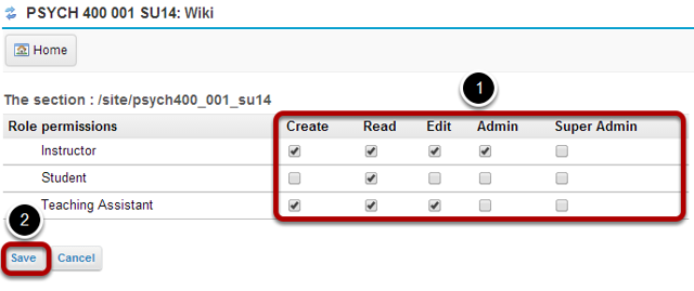 Select the site level permissions for each role.