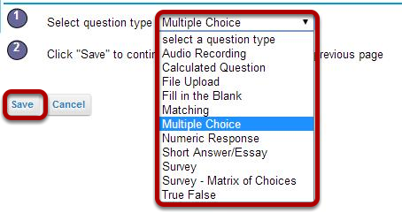 Create a new question by choosing its type.
