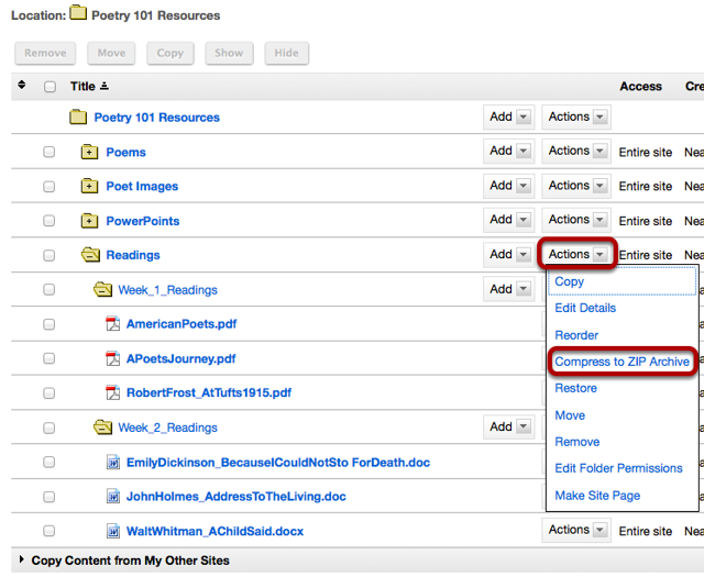 Click Actions, then Compress Zip Archive.