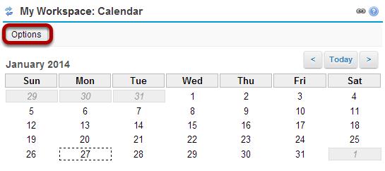 Click Options to customize calendar display. (Optional)