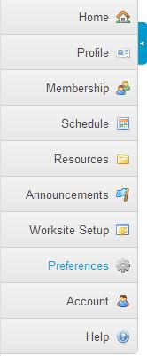 My Workspace Tool Menu.
