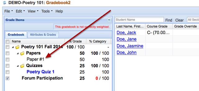 Option 2: Existing gradebook item.
