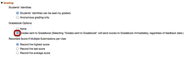 Send grades to gradebook.