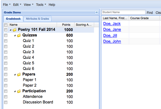 Case I: If you use non-weighted categories gradebook (grading by points):