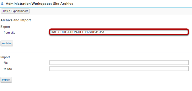 In the Export from site field, enter the site id.