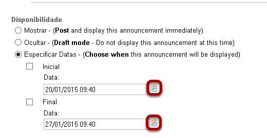 Selecionar as datas de disponibilidade. (Opcional)