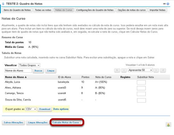 Clicar para configurar os itens não avaliados para zero.