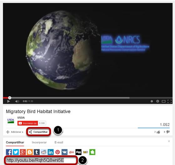 Primeiro localize e copie a URL do vídeo do YouTube (não o código-fonte).