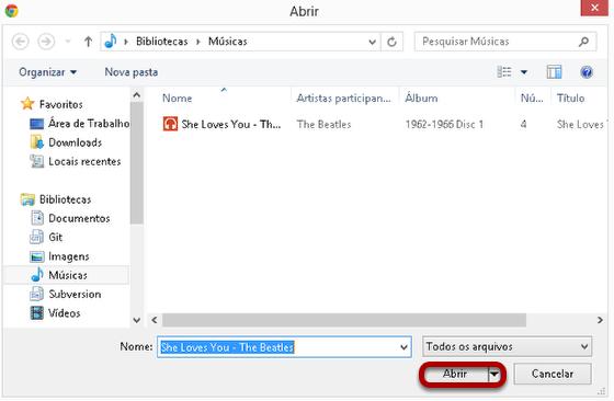 Localizar o arquivo de áudio, selecione e clique em Abrir.