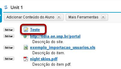 Visualizar o link da atividade na página.