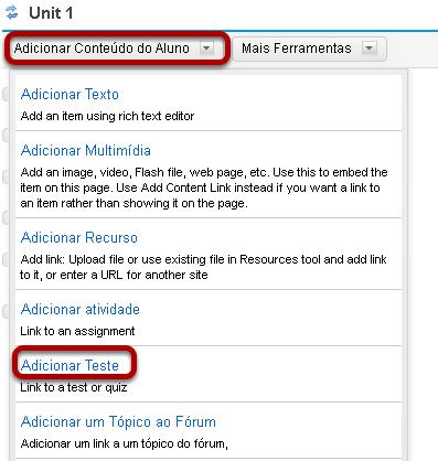 Clique em Adicionar Conteúdo, em seguida, Adicionar Teste.