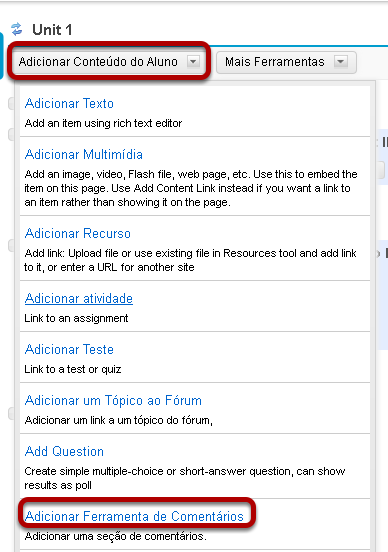 Clique em Adicionar Conteúdo e, em seguida, clicar em Adicionar Ferramenta de Comentários.