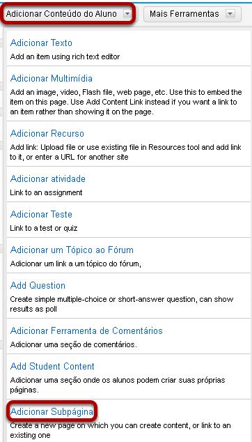 Clicar em Adicionar Conteúdo e, em seguida, clicar em Adicionar subpágina.