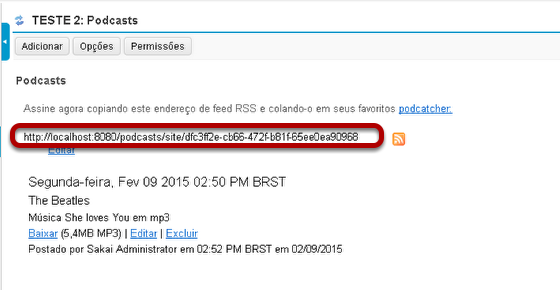 Copiar a URL do feed RSS do Podcast do site.
