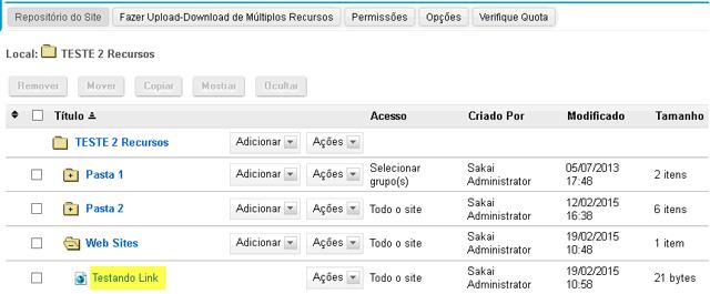 Visualizar os links em Repositório.