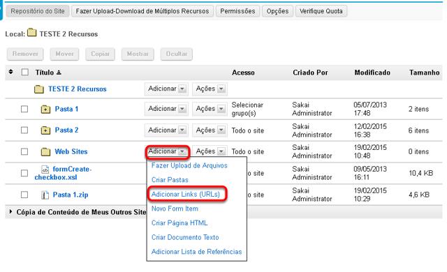 Clicar em Adicionar e, em seguida, Adicionar Links (URLs)